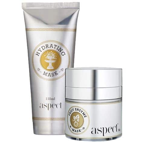 Picture of a tube of hydrating mask and a tub of frut enzyme mask.